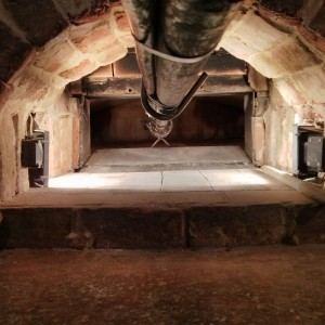 The inside of the brick oven with 6 square meters of baking space