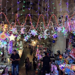 Old City of Jerusalem is decorated for Ramadan