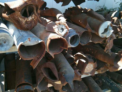 Pieces of missiles and shrapnel collected on display in Sderot