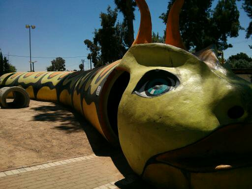 Caterpillar bomb shelter at the Sderot playground